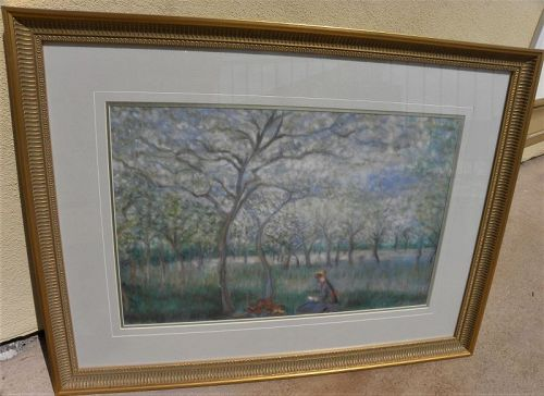 Pastel landscape drawing in French Impressionist style signed