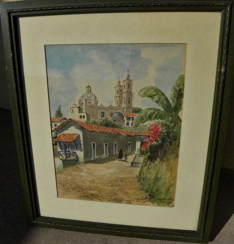 Taxco Mexico vintage watercolor Santa Prisca church 1966