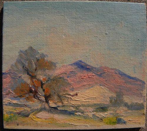 California desert miniature impressionist painting vintage
