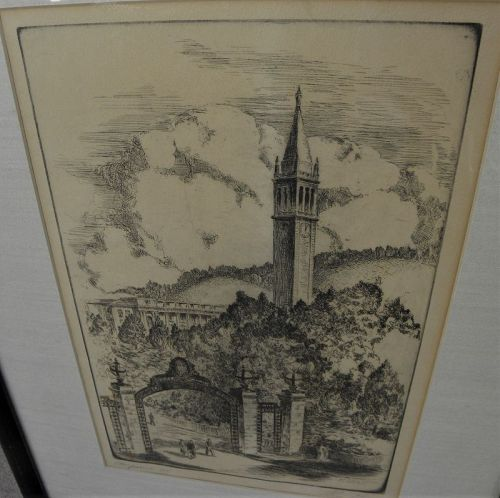 ALEXANDER STERN (1904-1994) California art 1947 etching UC Berkeley