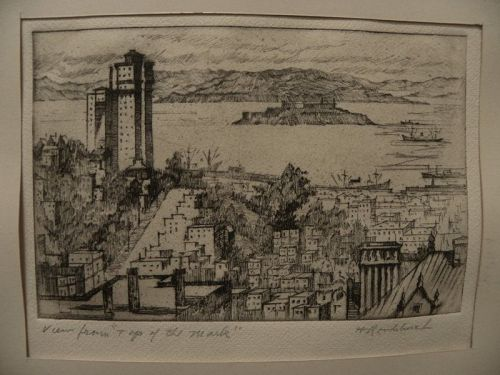 HARRIET GENE ROUDEBUSH (1908-1998) vintage etching San Francisco view