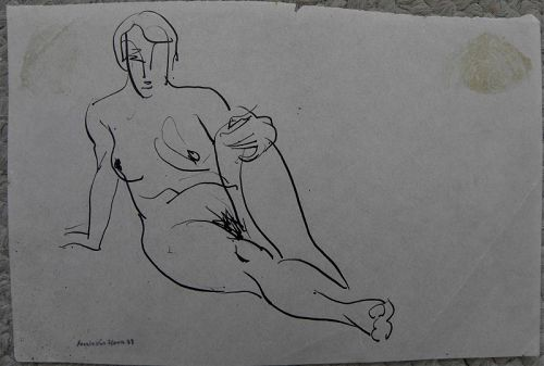 FRANK VAN SLOUN (1879-1938) ink drawing nude San Francisco artist
