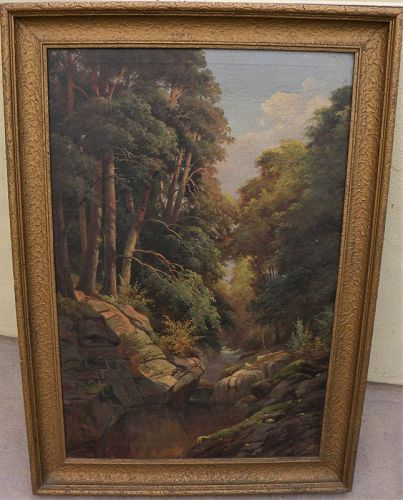 Hudson River style forest interior large painting ca. 1920