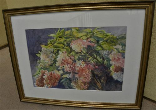 Impressionist watercolor painting flowering shrub