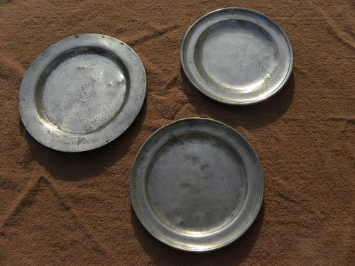 Pewter English 18th century plates THREE one with London touch marks