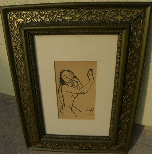 CARL HOFER (1878-1955) German  Expressionist art woodblock print 1921