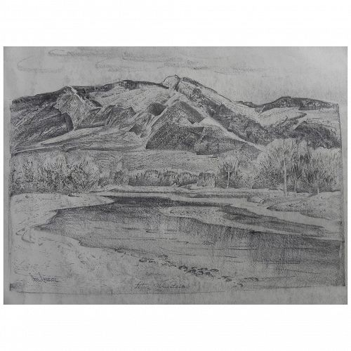 "PAUL LAURITZ (1889-1975) original pencil and ink drawing ""Teton Mountains"" by well listed California artist"