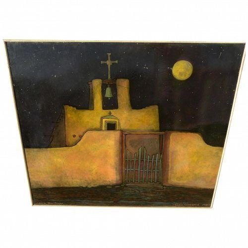ROBIN GARY WOOD Santa Fe Style contemporary painting of Cordova New Mexico church