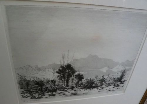 GEORGE ELBERT BURR (1859-1939) Southwestern American artist fine etching of Arizona desert