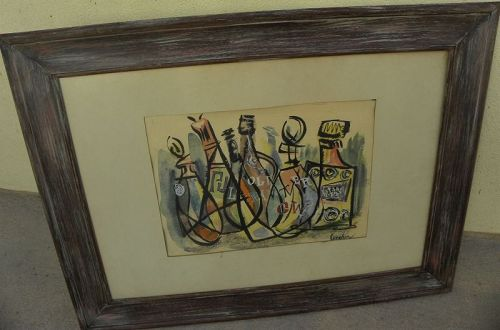 Mid century modern watercolor still life painting signed