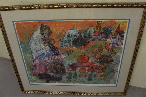 THEO TOBIASSE (1927-2012) pencil signed lithograph Jewish art