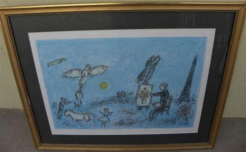 """MARC CHAGALL (1887-1985) lithograph 1981 """"Le Peintre et son Double"""""""