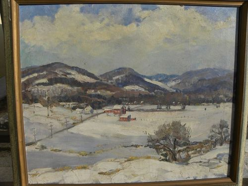 American impressionist winter landscape signed maybe Vermont