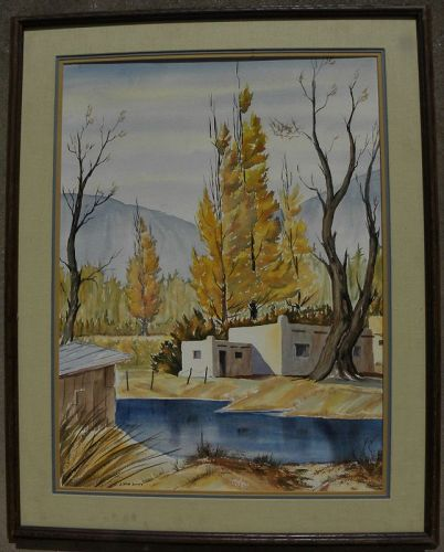 New Mexico watercolor painting autumn adobes signed