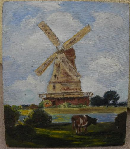 Impressionist vintage painting windmill and cows landscape