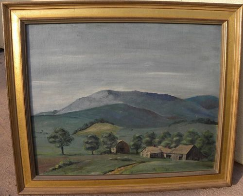 Vintage painting western New Hampshire mountain landscape 1949