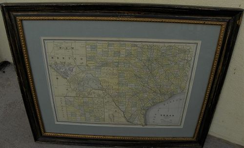 Texas antique map circa 1900 tastefully framed