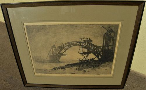 RALPH PEARSON (1883-1958) signed etching of Hell Gate Bridge New York