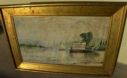 EDMUND DARCH LEWIS (1835-1910) American antique watercolor gold frame