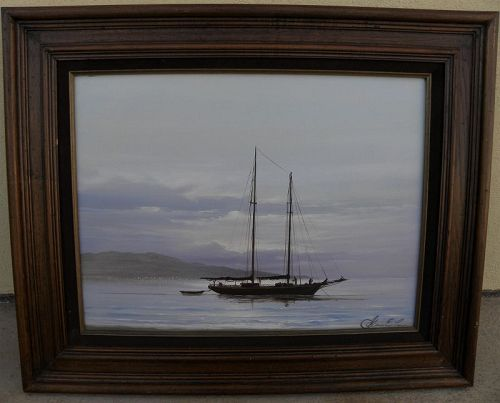GEORGE E. LEE (1925-1998) oil painting sail boat at anchor off a coast