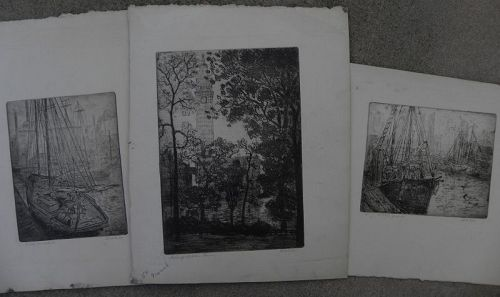LEON DOLICE (1892-1960) three pencil signed etchings of New York City