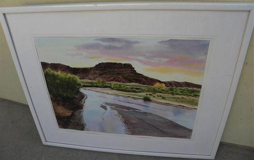 Southwest large contemporary watercolor landscape painting beautiful