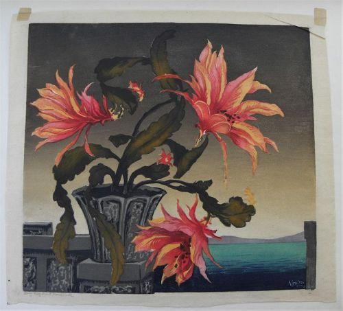 HUGO NOSKE (1886-1960) floral woodblock print Austrian artist colorful