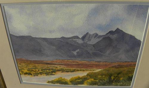 California watercolor painting eastern Sierra peaks by local artist