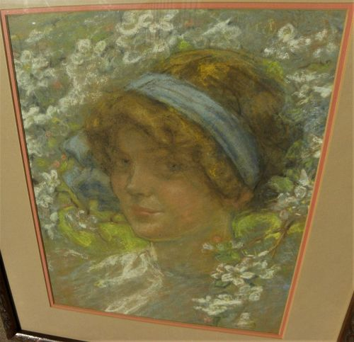 American antique pastel portrait young woman signed