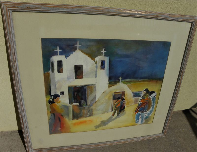 New Mexico vintage watercolor painting Taos church and figures signed