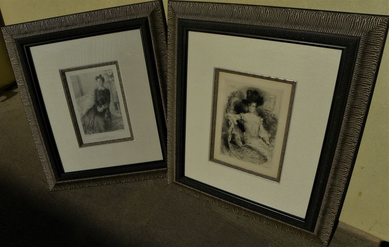 French PAIR 19th century etchings Charles Waltner and Ernest Laurent