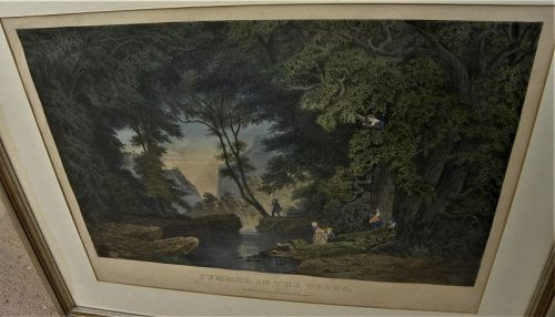 Currier and Ives small folio lithograph Summer in the Woods