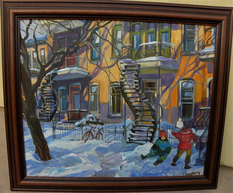 Canadian art Montreal winter houses painting INGRID HARRISON (1935-)