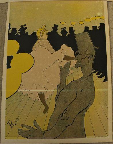 """TOULOUSE-LAUTREC (1864-1901) """"La Goulue"""" lithograph Mourlot  1955"""