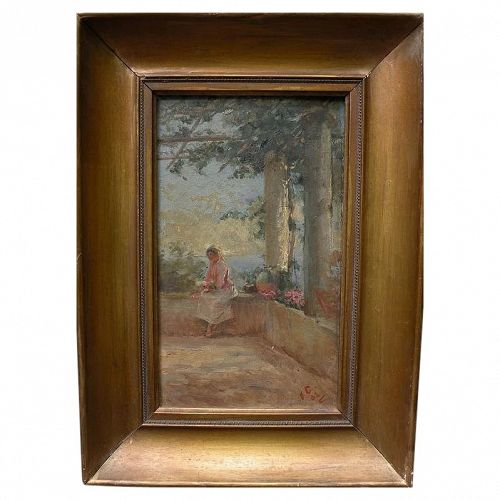 Impressionist painting of a lady under a trellis on Italian coast signed and dated 1903