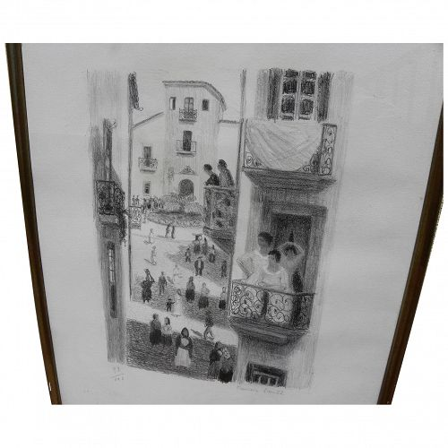 FRANCIS SMITH (1881-1961) signed lithograph street scene Portugal