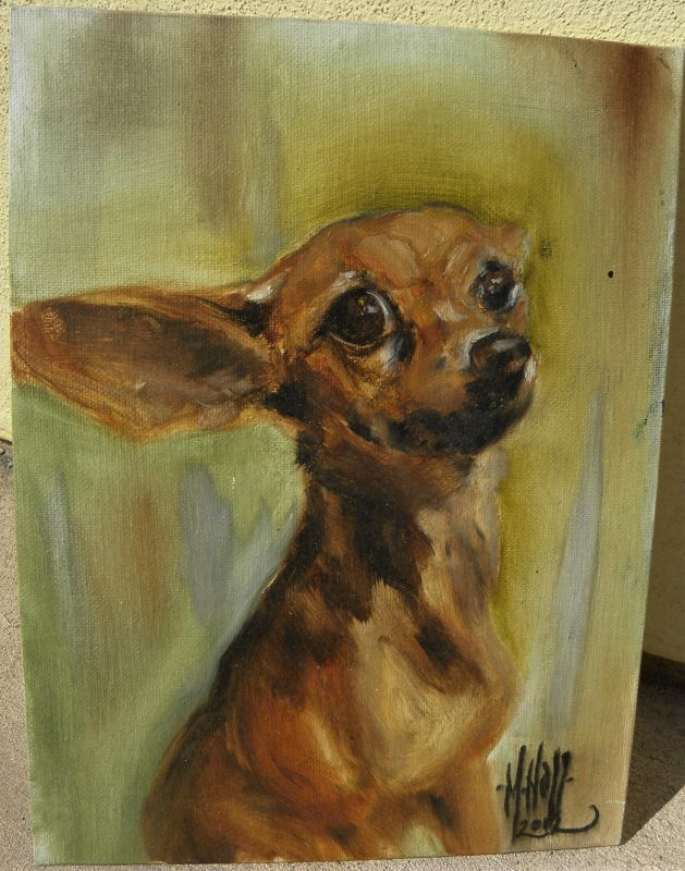 Chihuahua dog art adorable portrait oil painting canine