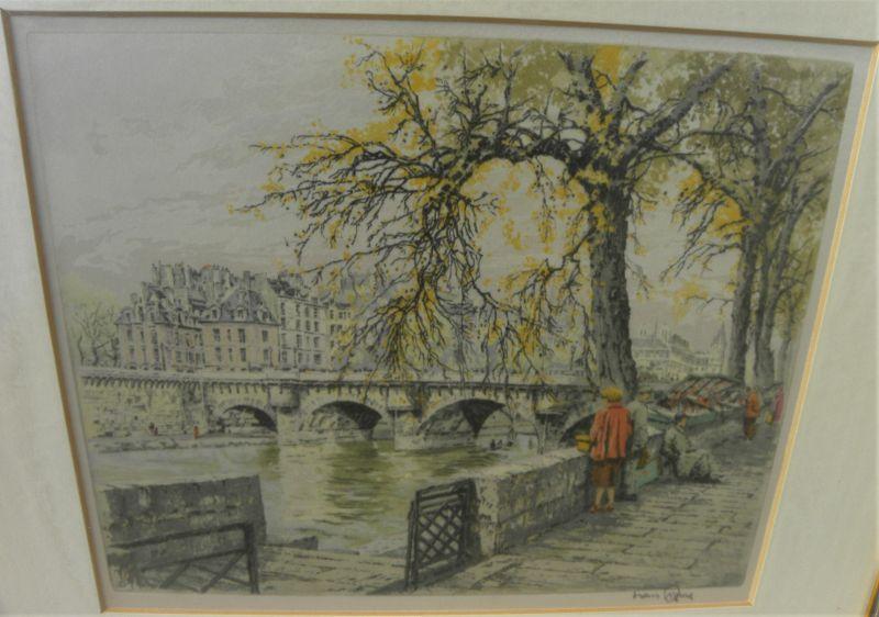HANS FIGURA (1898-1978) Paris Seine etching by noted Austrian artist