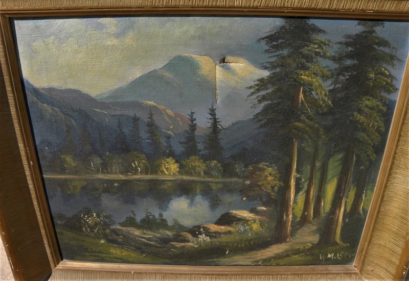 WILLIAM LEMOS (1861-1942) old California art painting mountain lake