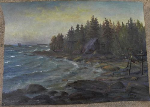 TOIVO JYRINKI (1895-1988) Finnish art coast painting vintage 1936