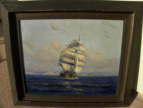 ANGEL ESPOY (1879-1963) California painting coast with clipper ship