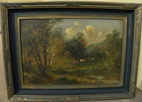 Antique American Hudson River School painting cows forest signed