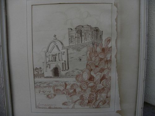 Vintage Arizona art 1946 drawing historic Tumacacori Mission