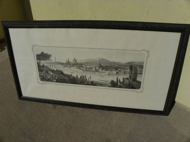 Old print of Florence Italy panorama by Giudici
