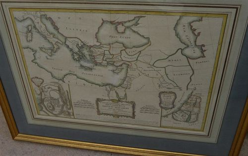 Antique French map Holy Land and Mediterranean 1771 by Bonne