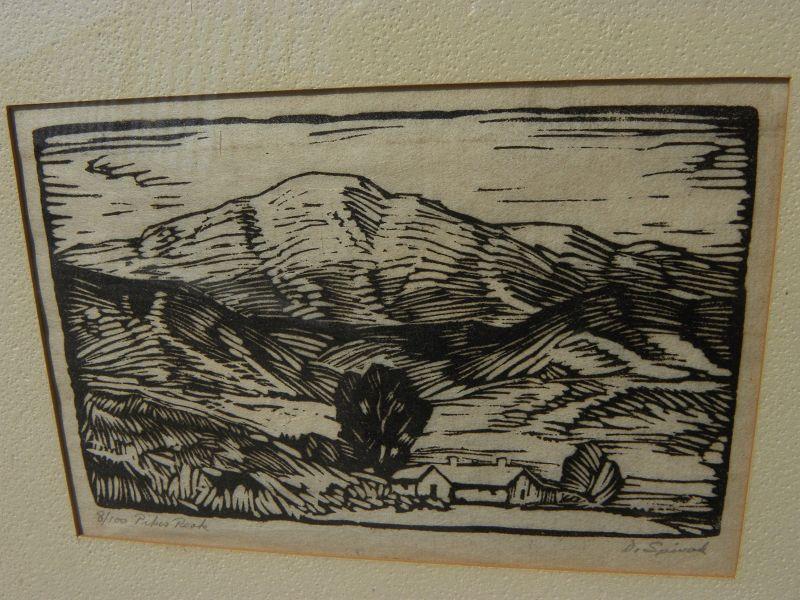 Colorado early art Pikes Peak woodcut print DAVID SPIVAK (1893-1932)