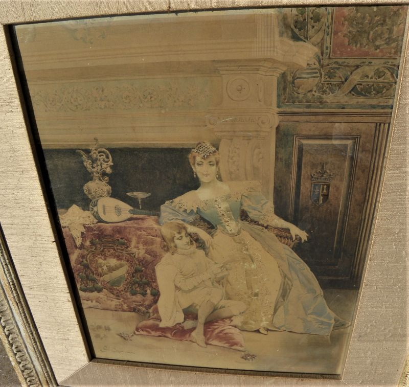 GIUSEPPE SIGNORINI (1857-1932) antique Italian watercolor painting