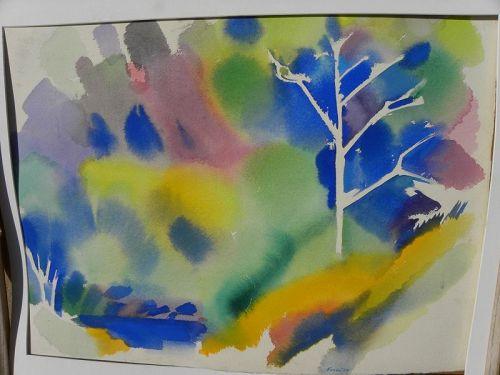 ERLE LORAN (1905-1999) California modernist watercolor painting