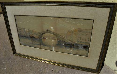 EDMUND DARCH LEWIS (1835-1910) gouache painting Venice Italy