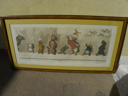 "BORIS O'KLEIN (1893-1985) signed etching ""Dirty Dogs of Paris"" French"